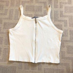 Jolie White Zip Crop Top